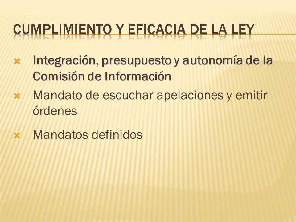 Integración, presupuesto y autonomía de la Comisión de Información Integración, presupuesto y autonomía de la Comisión de Información Mandato de escuchar apelaciones y emitir órdenes Mandatos definidos
