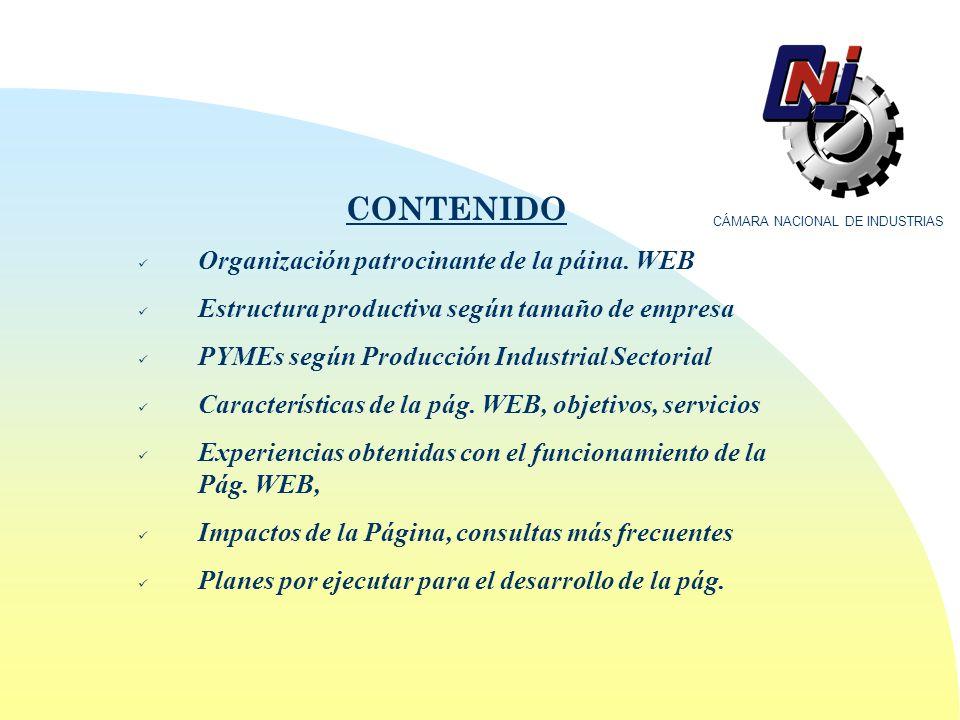 CONTENIDO Organización patrocinante de la páina.
