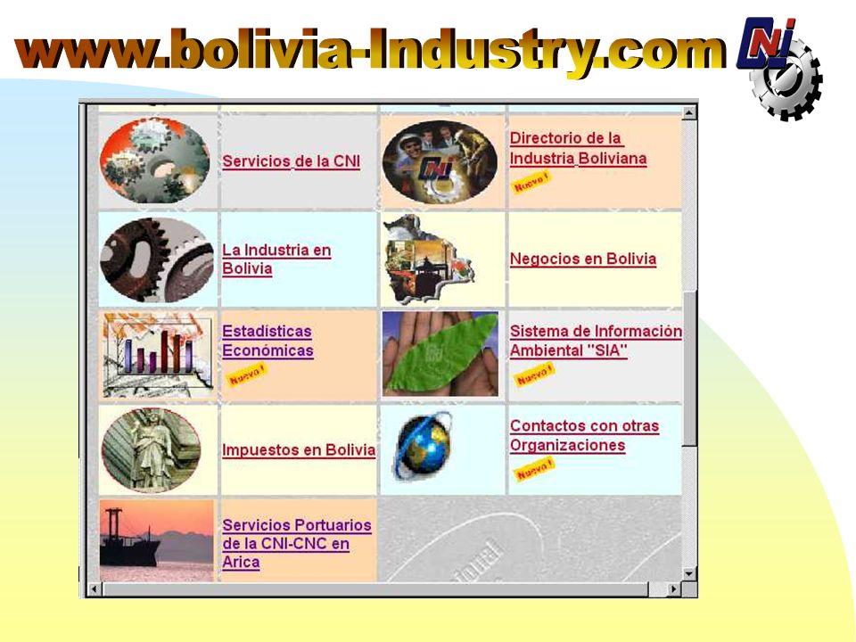 LA CNI EN EL Pone a disposición de ususarios de Internet más Información Económica, Industrial y sobre oportunidades comerciales en Bolivia El WEB SIT