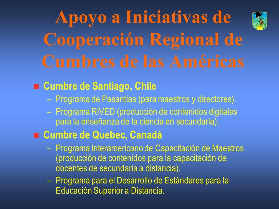 Apoyo a Iniciativas de Cooperación Regional de Cumbres de las Américas Cumbre de Santiago, Chile –Programa de Pasantías (para maestros y directores).