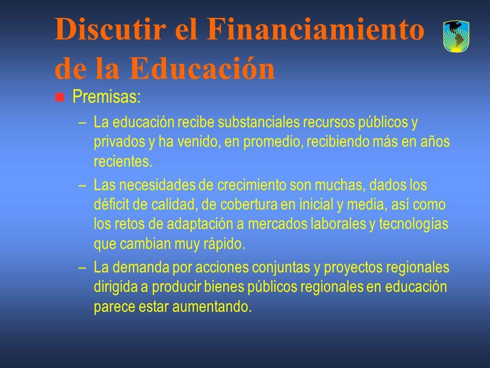 Discutir el Financiamiento de la Educación Premisas: –La educación recibe substanciales recursos públicos y privados y ha venido, en promedio, recibie