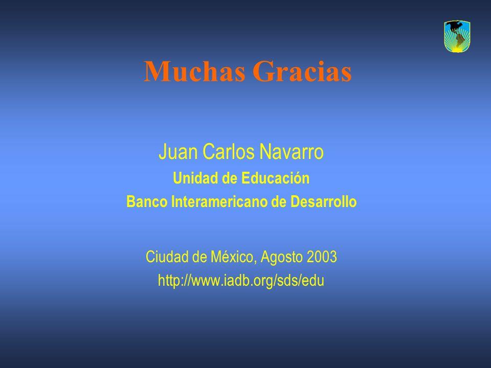 Muchas Gracias Juan Carlos Navarro Unidad de Educación Banco Interamericano de Desarrollo Ciudad de México, Agosto 2003 http://www.iadb.org/sds/edu