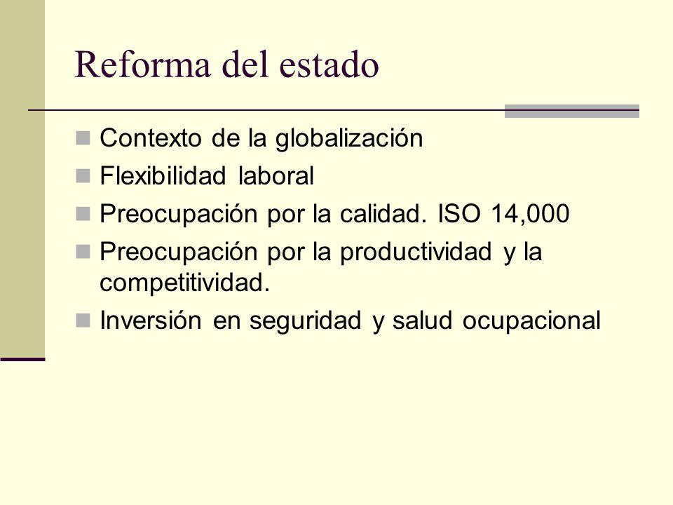 Reforma del estado Contexto de la globalización Flexibilidad laboral Preocupación por la calidad.
