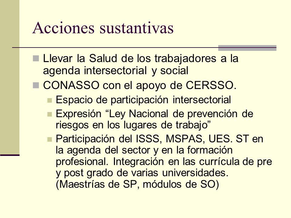 Acciones sustantivas Llevar la Salud de los trabajadores a la agenda intersectorial y social CONASSO con el apoyo de CERSSO.