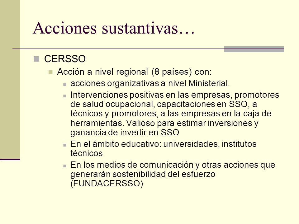 CERSSO Acción a nivel regional (8 países) con: acciones organizativas a nivel Ministerial.