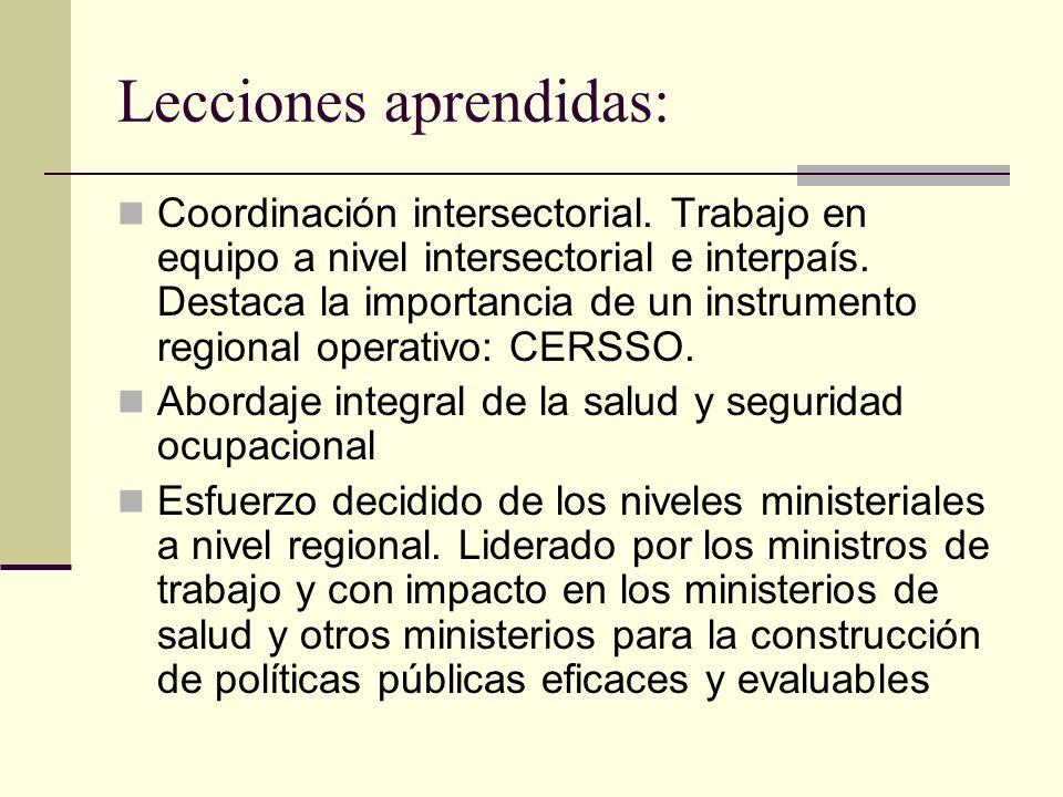 Lecciones aprendidas: Coordinación intersectorial.