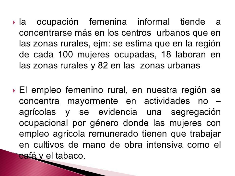 la ocupación femenina informal tiende a concentrarse más en los centros urbanos que en las zonas rurales, ejm: se estima que en la región de cada 100