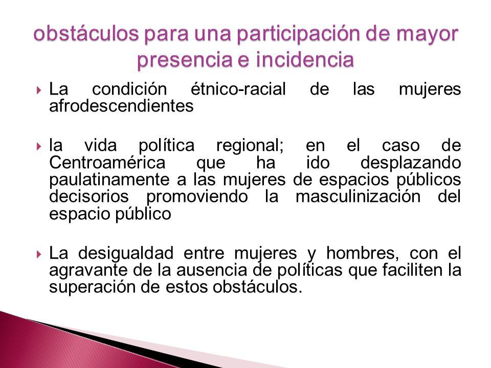 La condición étnico-racial de las mujeres afrodescendientes la vida política regional; en el caso de Centroamérica que ha ido desplazando paulatinamen