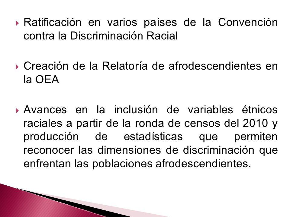 Ratificación en varios países de la Convención contra la Discriminación Racial Creación de la Relatoría de afrodescendientes en la OEA Avances en la i