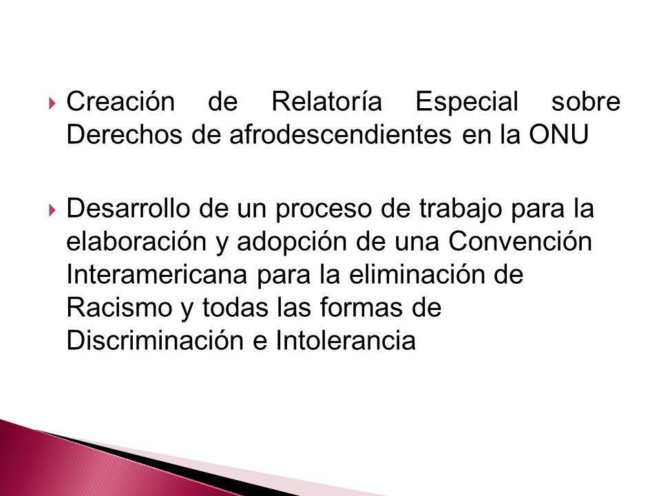 Creación de Relatoría Especial sobre Derechos de afrodescendientes en la ONU Desarrollo de un proceso de trabajo para la elaboración y adopción de una