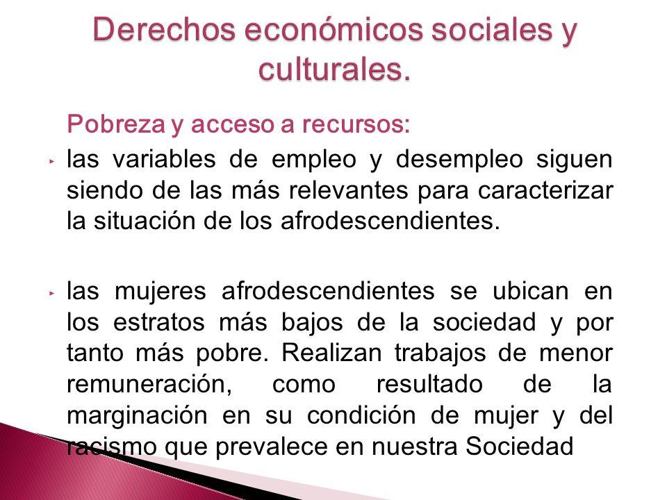 Pobreza y acceso a recursos: las variables de empleo y desempleo siguen siendo de las más relevantes para caracterizar la situación de los afrodescend