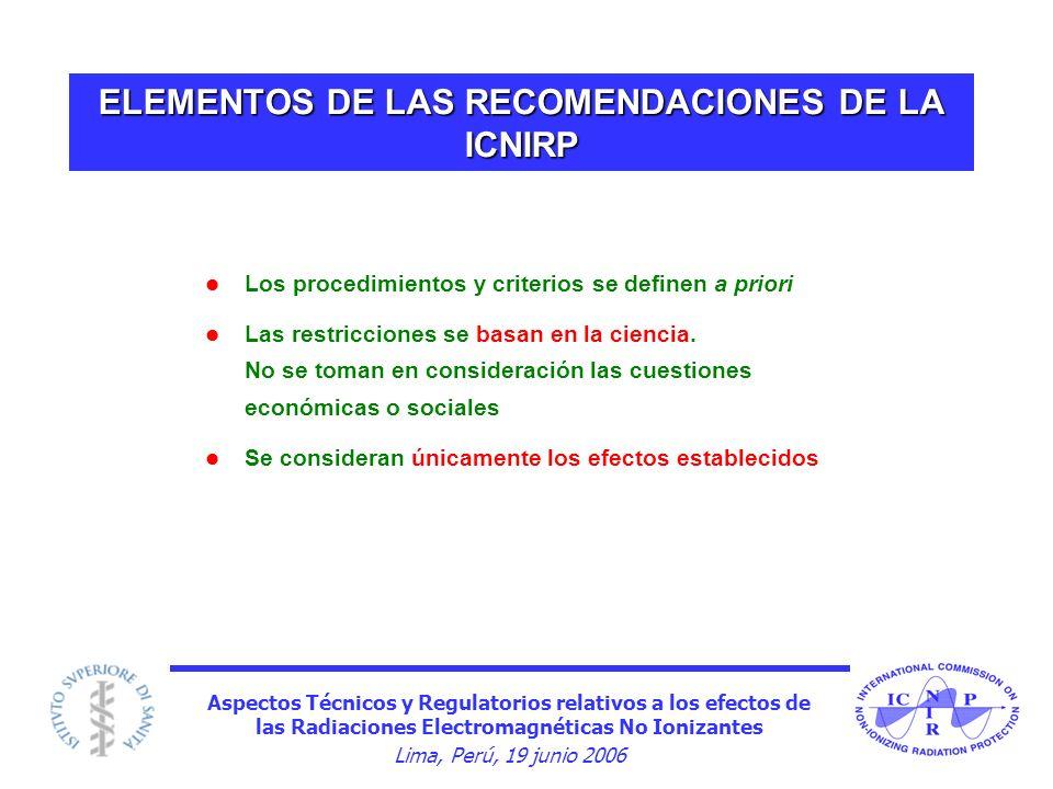 Aspectos Técnicos y Regulatorios relativos a los efectos de las Radiaciones Electromagnéticas No Ionizantes Lima, Perú, 19 junio 2006 ELEMENTOS DE LAS