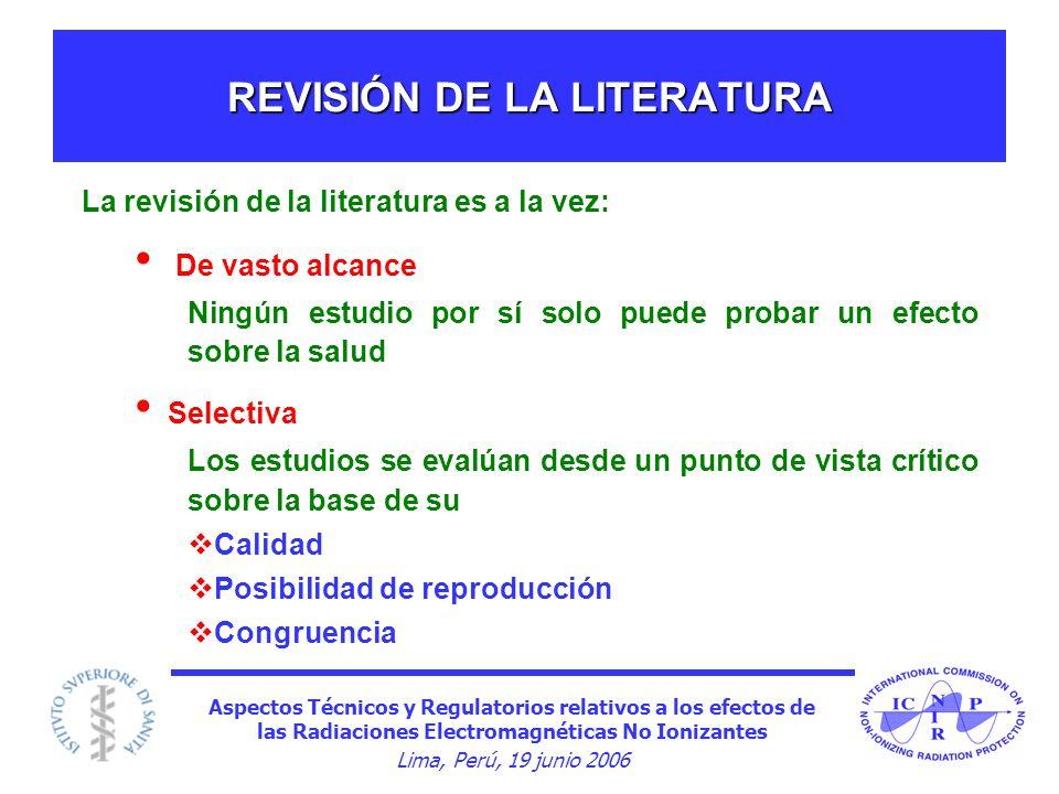 Aspectos Técnicos y Regulatorios relativos a los efectos de las Radiaciones Electromagnéticas No Ionizantes Lima, Perú, 19 junio 2006 REVISIÓN DE LA L