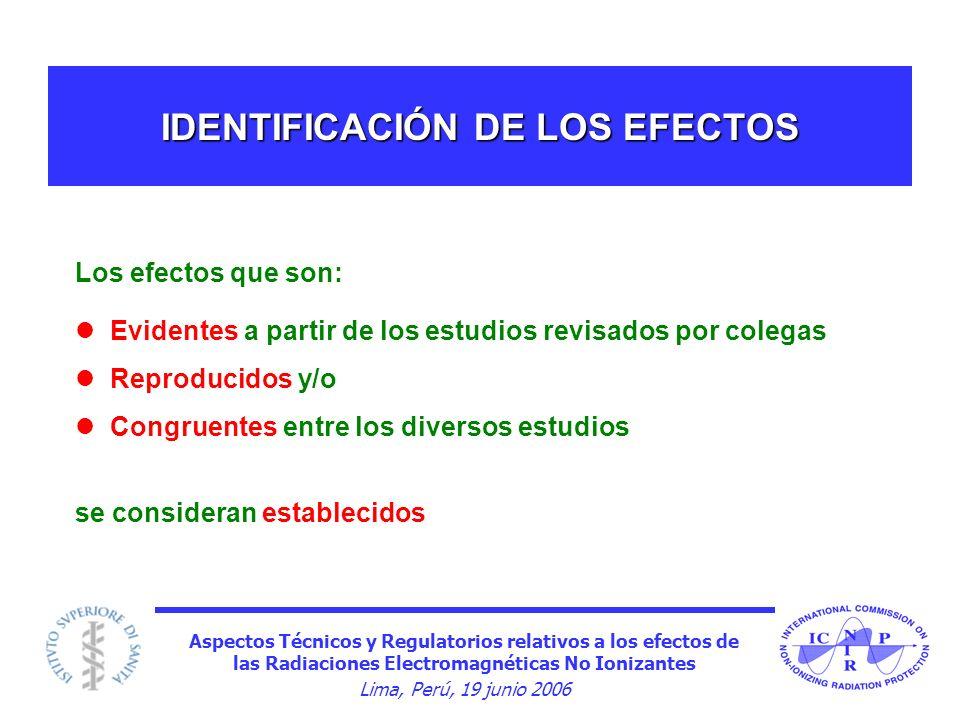 Aspectos Técnicos y Regulatorios relativos a los efectos de las Radiaciones Electromagnéticas No Ionizantes Lima, Perú, 19 junio 2006 IDENTIFICACIÓN D