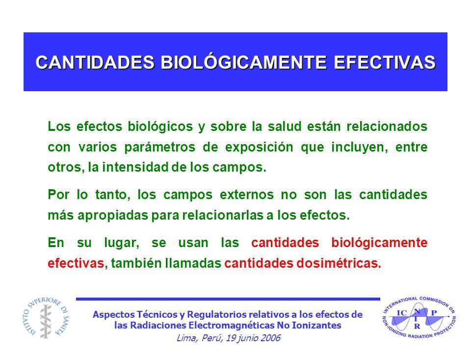 Aspectos Técnicos y Regulatorios relativos a los efectos de las Radiaciones Electromagnéticas No Ionizantes Lima, Perú, 19 junio 2006 CANTIDADES BIOLÓ