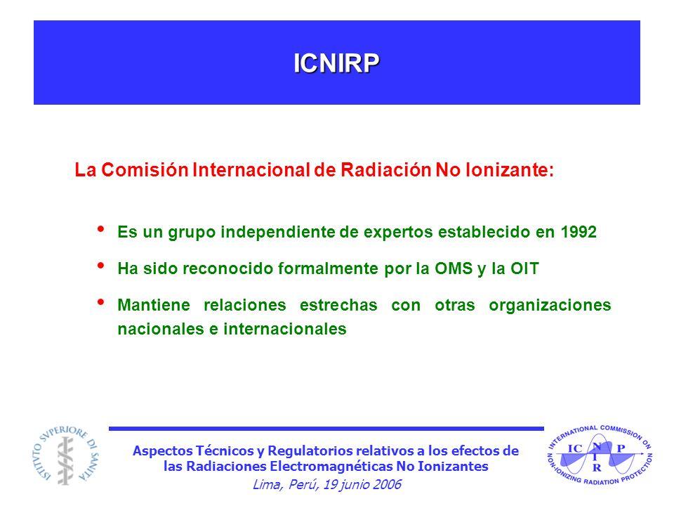 Aspectos Técnicos y Regulatorios relativos a los efectos de las Radiaciones Electromagnéticas No Ionizantes Lima, Perú, 19 junio 2006 ICNIRP Es un gru