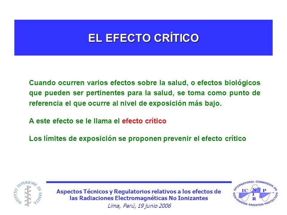 Aspectos Técnicos y Regulatorios relativos a los efectos de las Radiaciones Electromagnéticas No Ionizantes Lima, Perú, 19 junio 2006 EL EFECTO CRÍTIC