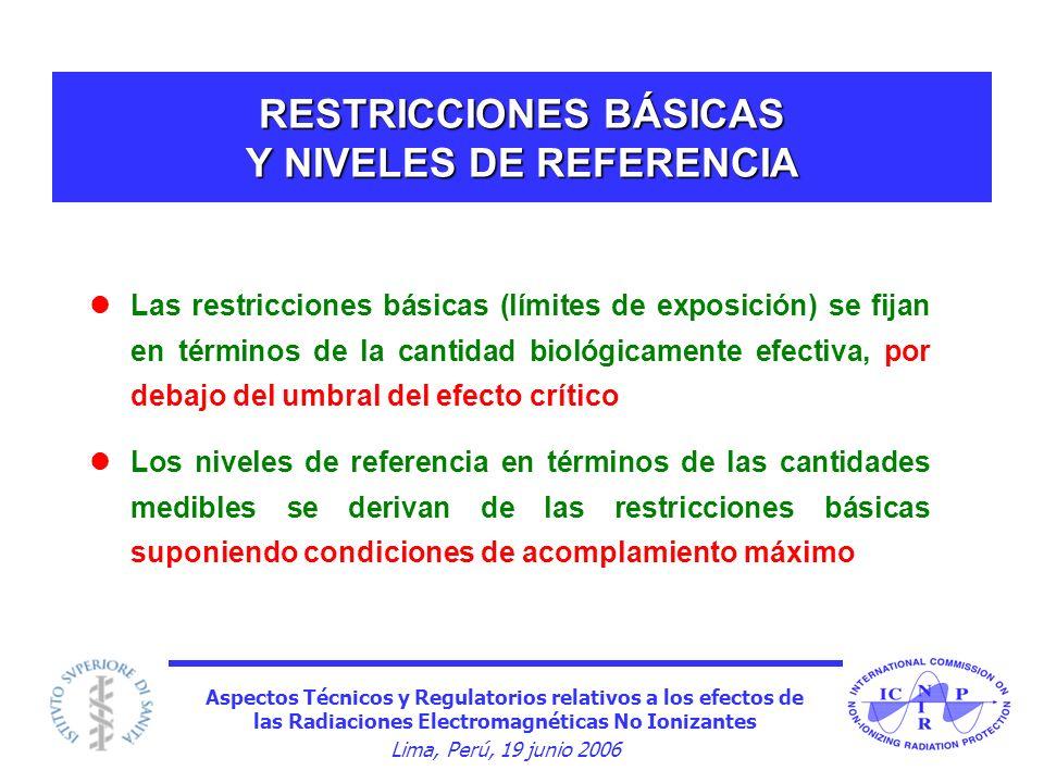 Aspectos Técnicos y Regulatorios relativos a los efectos de las Radiaciones Electromagnéticas No Ionizantes Lima, Perú, 19 junio 2006 RESTRICCIONES BÁ