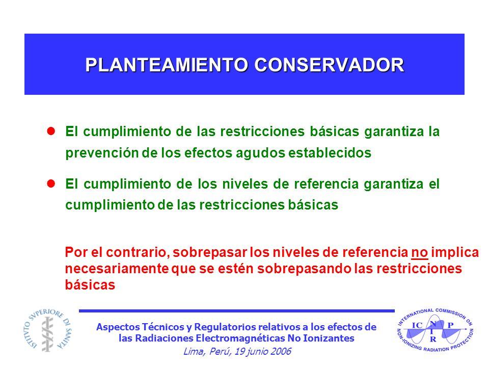 Aspectos Técnicos y Regulatorios relativos a los efectos de las Radiaciones Electromagnéticas No Ionizantes Lima, Perú, 19 junio 2006 PLANTEAMIENTO CO