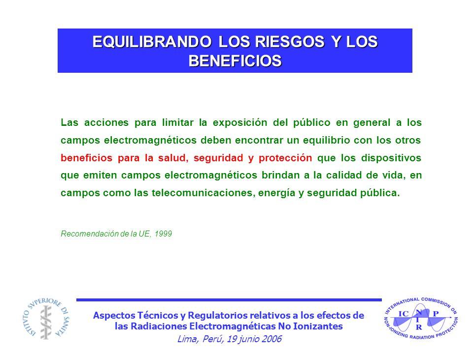 Aspectos Técnicos y Regulatorios relativos a los efectos de las Radiaciones Electromagnéticas No Ionizantes Lima, Perú, 19 junio 2006 EQUILIBRANDO LOS