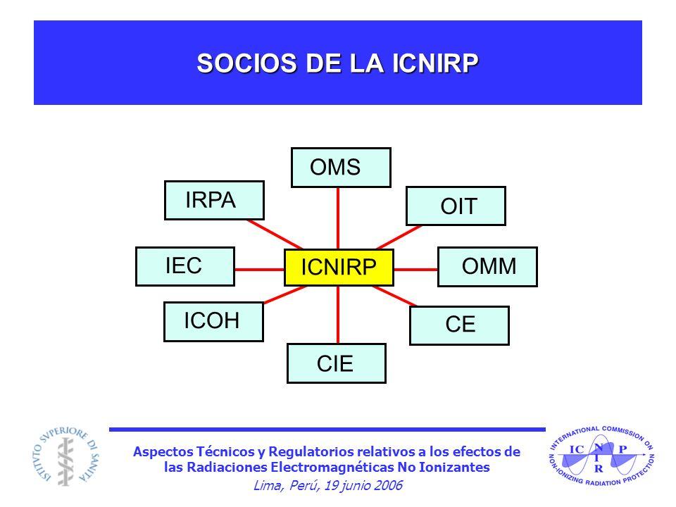 Aspectos Técnicos y Regulatorios relativos a los efectos de las Radiaciones Electromagnéticas No Ionizantes Lima, Perú, 19 junio 2006 SOCIOS DE LA ICN