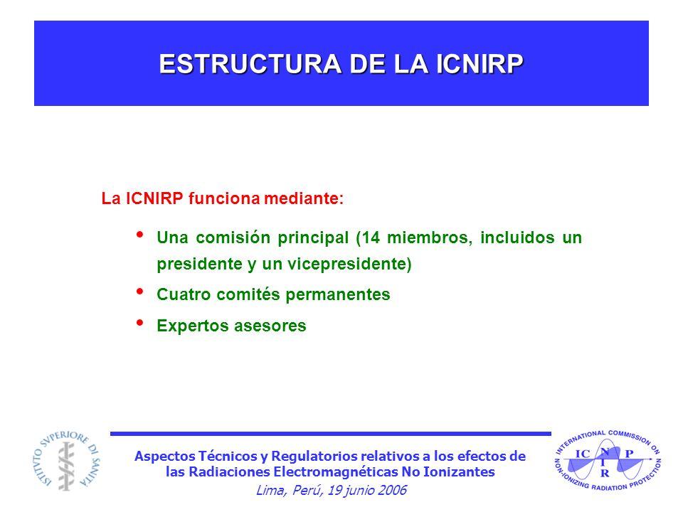 Aspectos Técnicos y Regulatorios relativos a los efectos de las Radiaciones Electromagnéticas No Ionizantes Lima, Perú, 19 junio 2006 ESTRUCTURA DE LA