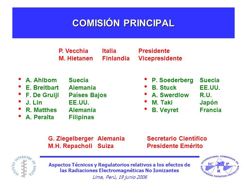 Aspectos Técnicos y Regulatorios relativos a los efectos de las Radiaciones Electromagnéticas No Ionizantes Lima, Perú, 19 junio 2006 COMISIÓN PRINCIP