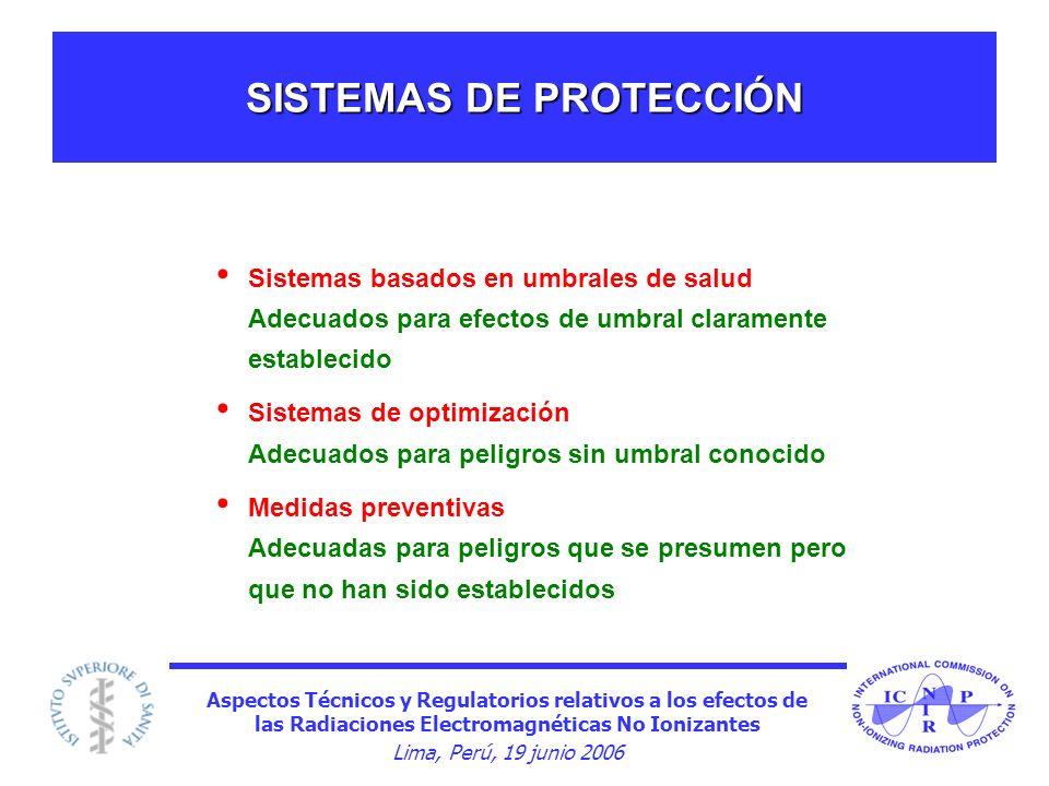 Aspectos Técnicos y Regulatorios relativos a los efectos de las Radiaciones Electromagnéticas No Ionizantes Lima, Perú, 19 junio 2006 SISTEMAS DE PROT
