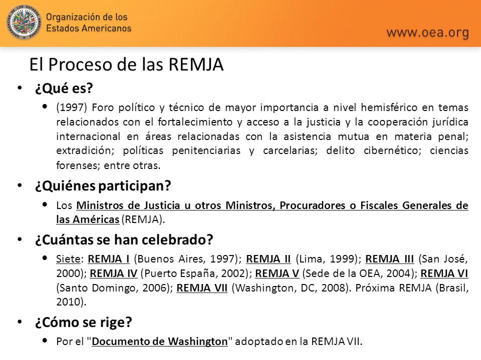 El Proceso de las REMJA ¿Qué es? (1997) Foro político y técnico de mayor importancia a nivel hemisférico en temas relacionados con el fortalecimiento