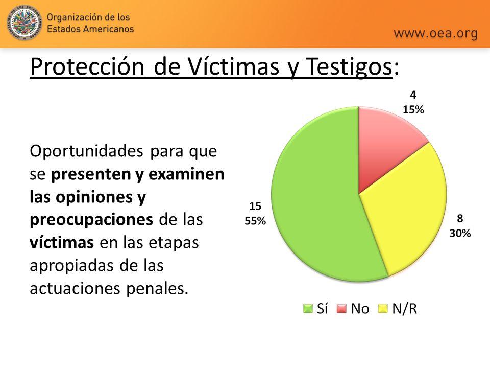 Protección de Víctimas y Testigos: Oportunidades para que se presenten y examinen las opiniones y preocupaciones de las víctimas en las etapas apropia