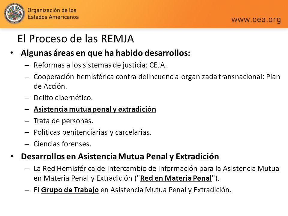 El Proceso de las REMJA Algunas áreas en que ha habido desarrollos: – Reformas a los sistemas de justicia: CEJA. – Cooperación hemisférica contra deli
