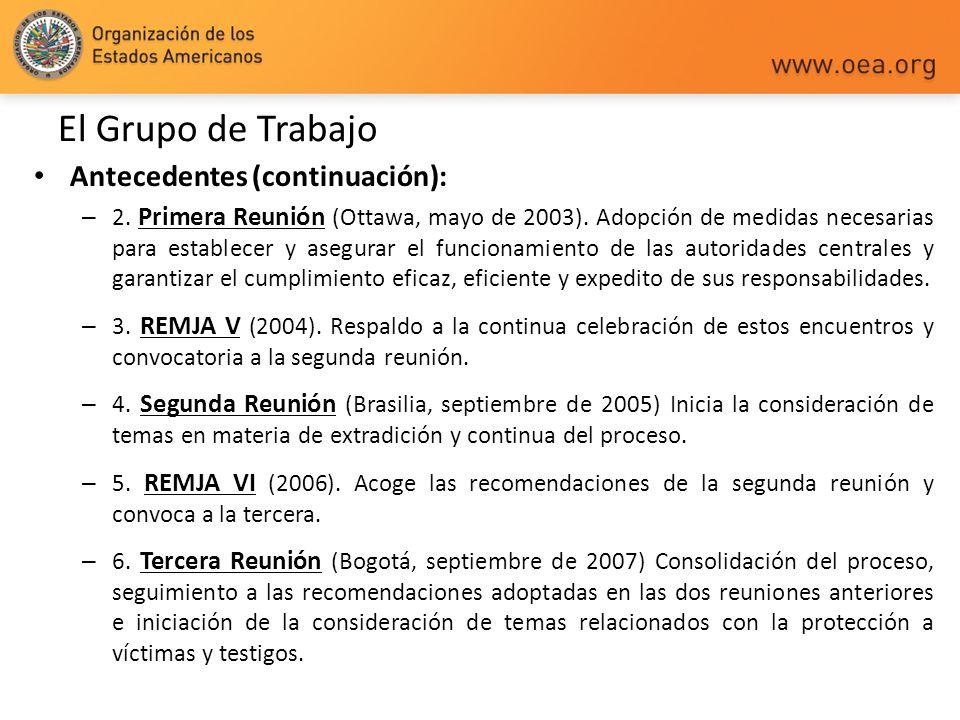 El Grupo de Trabajo Antecedentes (continuación): – 2. Primera Reunión (Ottawa, mayo de 2003). Adopción de medidas necesarias para establecer y asegura