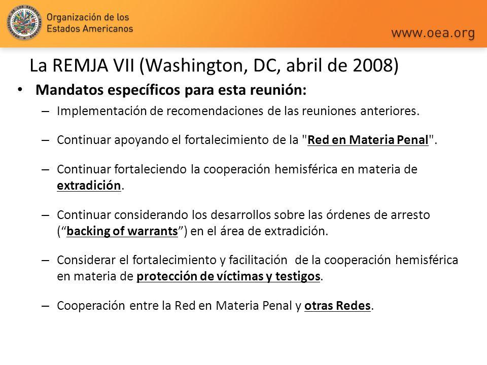 La REMJA VII (Washington, DC, abril de 2008) Mandatos específicos para esta reunión: – Implementación de recomendaciones de las reuniones anteriores.