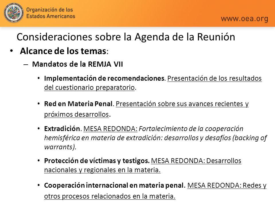 Consideraciones sobre la Agenda de la Reunión Alcance de los temas : – Mandatos de la REMJA VII Implementación de recomendaciones. Presentación de los