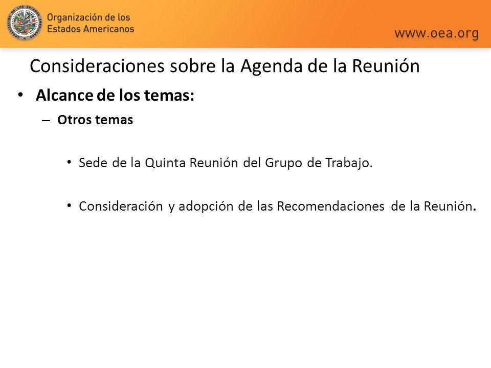 Consideraciones sobre la Agenda de la Reunión Alcance de los temas: – Otros temas Sede de la Quinta Reunión del Grupo de Trabajo. Consideración y adop