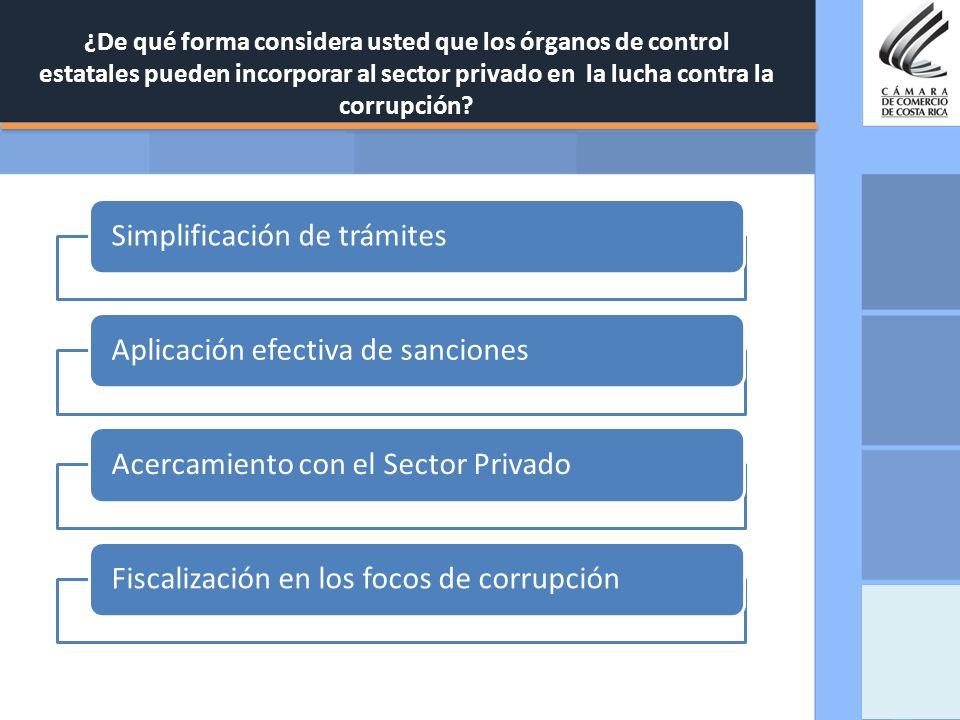 ¿De qué forma considera usted que los órganos de control estatales pueden incorporar al sector privado en la lucha contra la corrupción? Simplificació