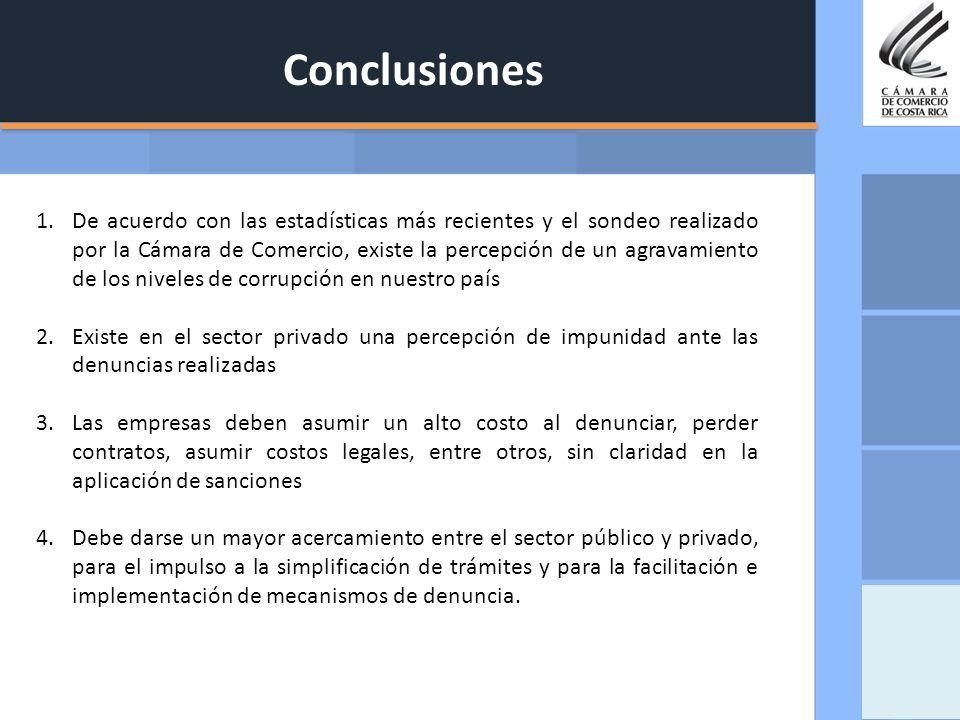 Conclusiones 1.De acuerdo con las estadísticas más recientes y el sondeo realizado por la Cámara de Comercio, existe la percepción de un agravamiento