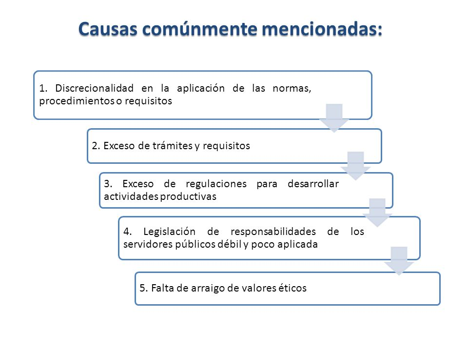Causas comúnmente mencionadas: 1. Discrecionalidad en la aplicación de las normas, procedimientos o requisitos 2. Exceso de trámites y requisitos 3. E