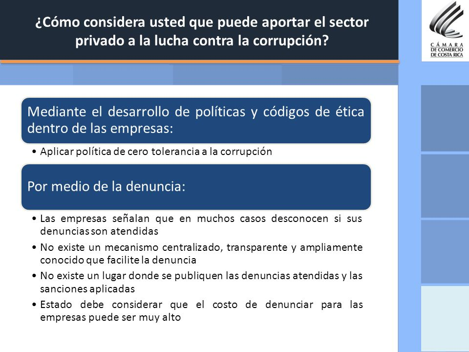 ¿Cómo considera usted que puede aportar el sector privado a la lucha contra la corrupción? Mediante el desarrollo de políticas y códigos de ética dent
