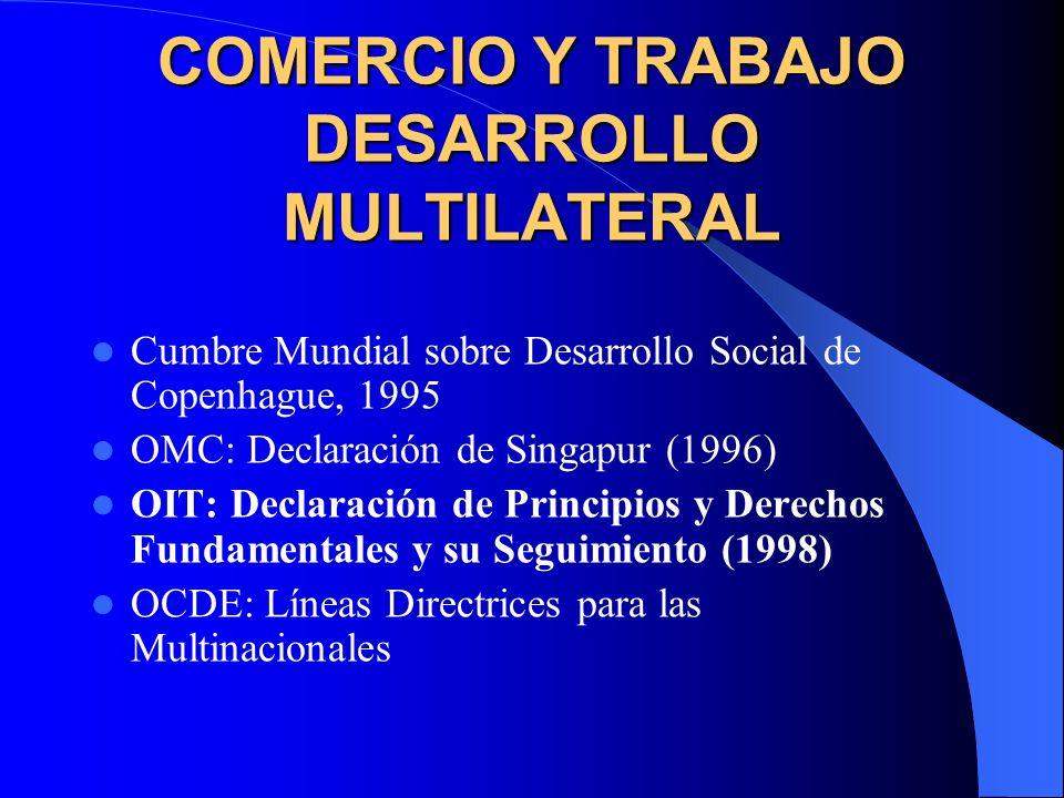 COMERCIO Y TRABAJO DESARROLLO MULTILATERAL Cumbre Mundial sobre Desarrollo Social de Copenhague, 1995 OMC: Declaración de Singapur (1996) OIT: Declara