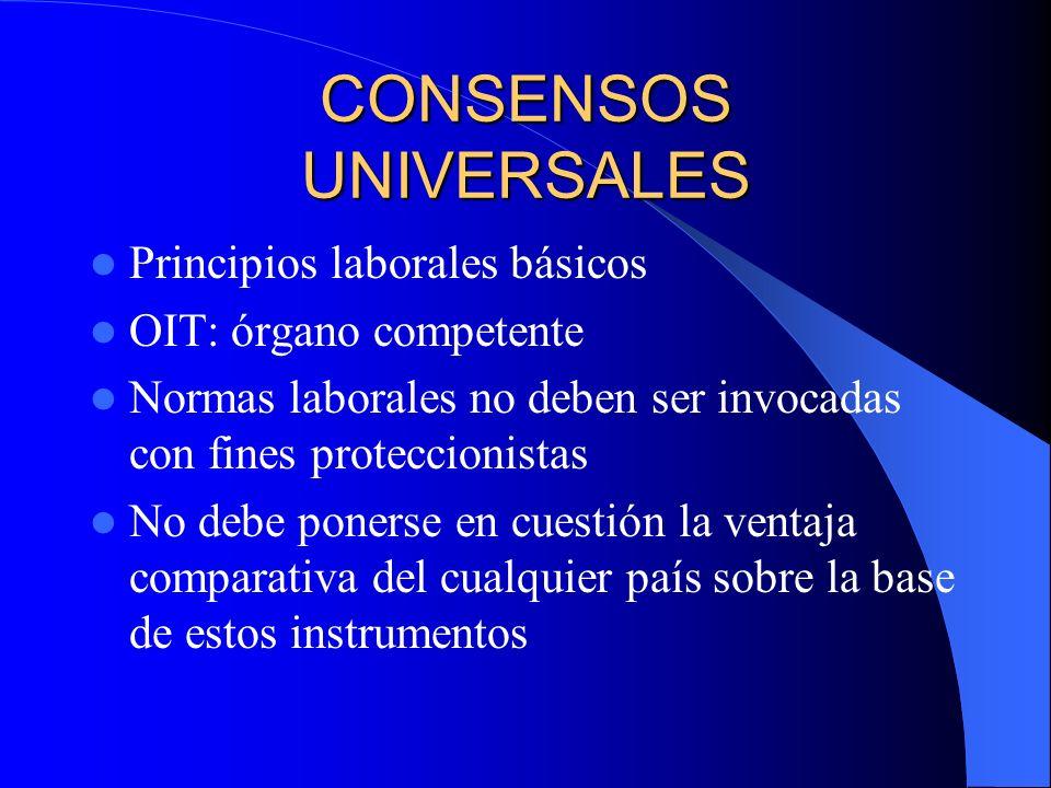 CONSENSOS UNIVERSALES Principios laborales básicos OIT: órgano competente Normas laborales no deben ser invocadas con fines proteccionistas No debe po