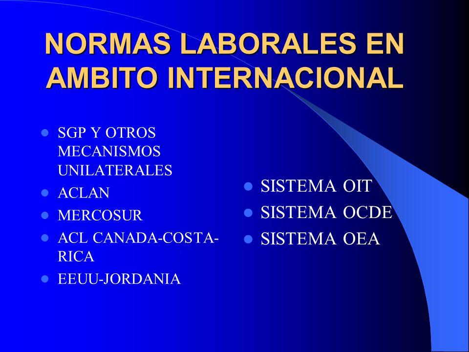 NORMAS LABORALES EN AMBITO INTERNACIONAL SGP Y OTROS MECANISMOS UNILATERALES ACLAN MERCOSUR ACL CANADA-COSTA- RICA EEUU-JORDANIA SISTEMA OIT SISTEMA O