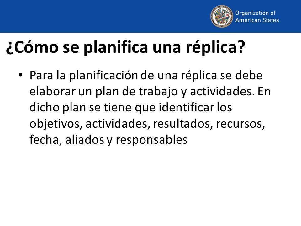 ¿Cómo se planifica una réplica? Para la planificación de una réplica se debe elaborar un plan de trabajo y actividades. En dicho plan se tiene que ide