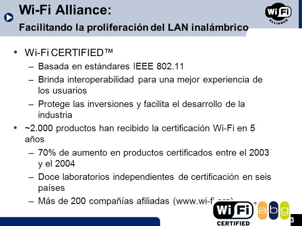 3 Wi-Fi Alliance: Facilitando la proliferación del LAN inalámbrico Wi-Fi CERTIFIED –Basada en estándares IEEE 802.11 –Brinda interoperabilidad para una mejor experiencia de los usuarios –Protege las inversiones y facilita el desarrollo de la industria ~2.000 productos han recibido la certificación Wi-Fi en 5 años –70% de aumento en productos certificados entre el 2003 y el 2004 –Doce laboratorios independientes de certificación en seis países –Más de 200 compañías afiliadas (www.wi-fi.org)
