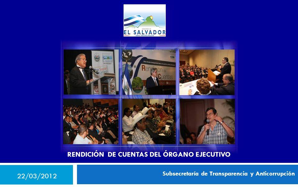 Subsecretaría de Transparencia y Anticorrupción RENDICIÓN DE CUENTAS DEL ÓRGANO EJECUTIVO 22/03/2012