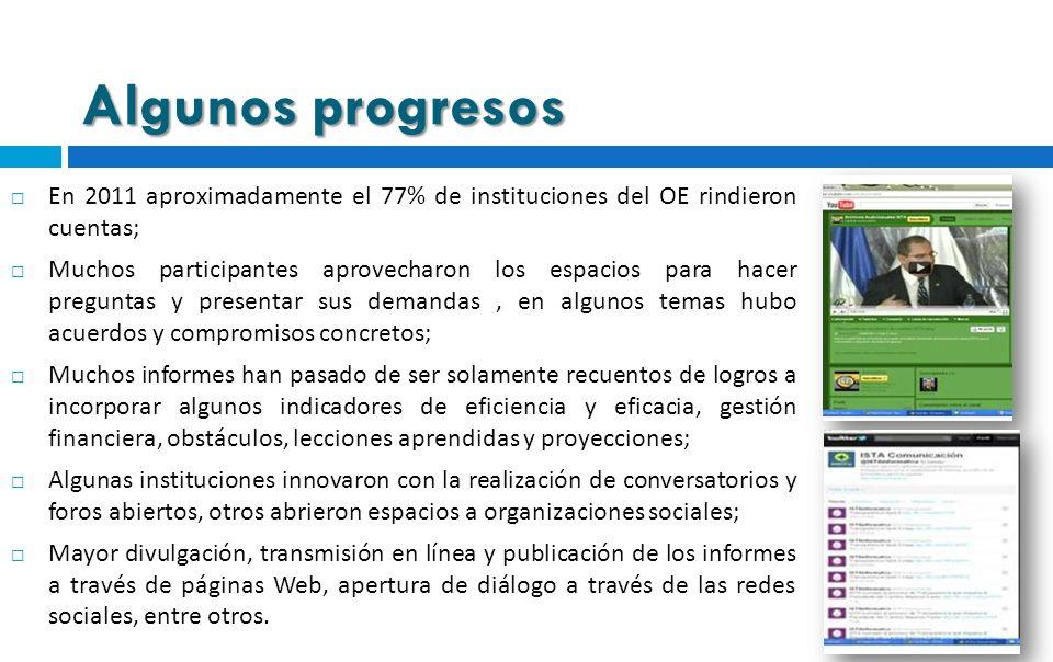 Algunos progresos En 2011 aproximadamente el 77% de instituciones del OE rindieron cuentas; Muchos participantes aprovecharon los espacios para hacer