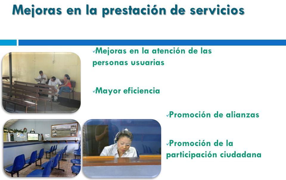Mejoras en la prestación de servicios Mejoras en la atención de las personas usuarias Mayor eficiencia Promoción de alianzas Promoción de la participa