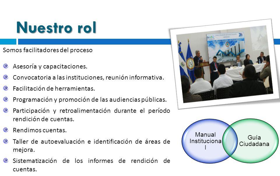 Nuestro rol Somos facilitadores del proceso Asesoría y capacitaciones. Convocatoria a las instituciones, reunión informativa. Facilitación de herramie