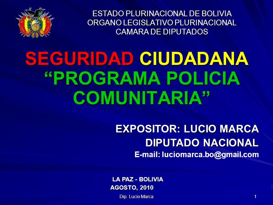 INTRODUCCIÓN En Bolivia, los problemas con la pobreza, el hambre y el desempleo influye influyen notoriamente en la inseguridad ciudadana, siendo esta una de las preocupaciones que se viene presentando en la mayoría de los Estados, debido a que el flagelo como es la delincuencia, la sobrepoblación carcelaria, la carencia de políticas adecuadas entre otras, nos lleva a buscar nuevas formas de lucha contra la delincuencia donde participe instituciones, organizaciones sociales y población.