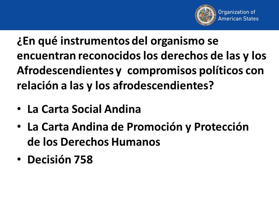 ¿En qué instrumentos del organismo se encuentran reconocidos los derechos de las y los Afrodescendientes y compromisos políticos con relación a las y los afrodescendientes.